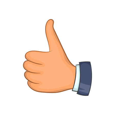 Hand with thumb up icon in cartoon style isolated on white background. Gesture symbol