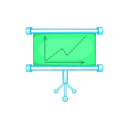 an example: Board with statistics icon in cartoon style isolated on white background. Information symbol