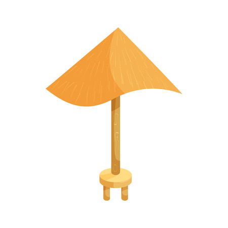 sun protection: Beach umbrella icon in cartoon style isolated on white background. Sun protection symbol