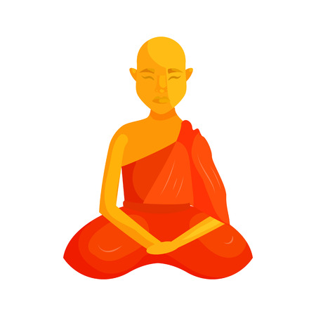 buddhist monk: Buddhist monk icon in cartoon style isolated on white background. Religious people symbol Stock Photo