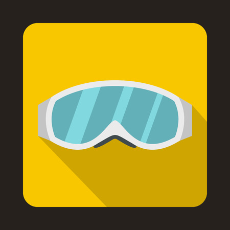 Skiing mask icon in flat style on a yellow background Illustration