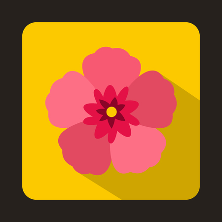 sharon: The Rose of Sharon icon in flat style on a yellow background