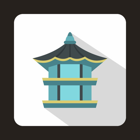 pavilion: Hyangwonjeong hexagonal pavilion in Gyeongbokgung Palace, South Korea icon in flat style on a baby whute background
