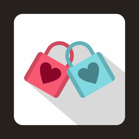 devotion: Blue and pink padlocks with heart icon in flat style on a baby whute background Illustration
