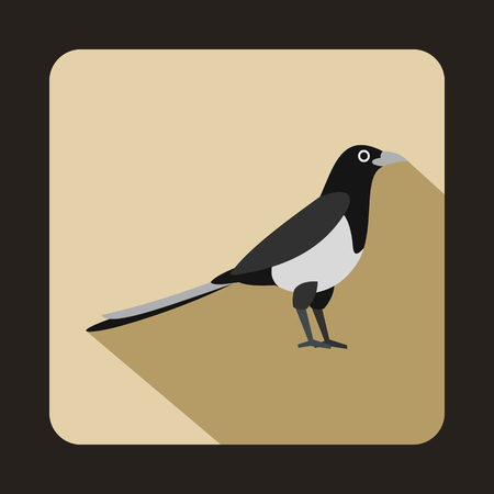 magpie: Magpie icon in flat style on a beige background