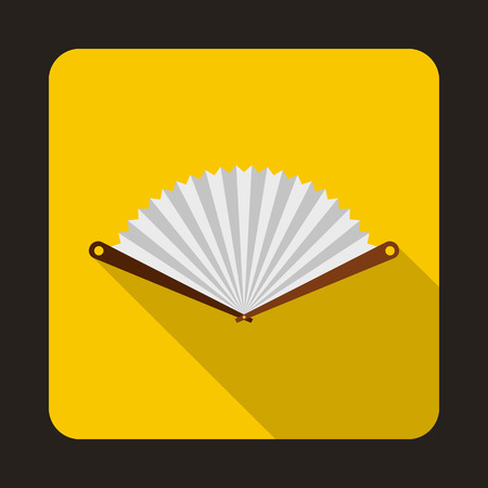 white fan: White fan icon in flat style on a yellow background Illustration