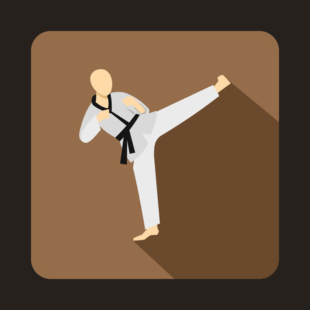 wushu: Wushu fighting style icon in flat style on a coffee background
