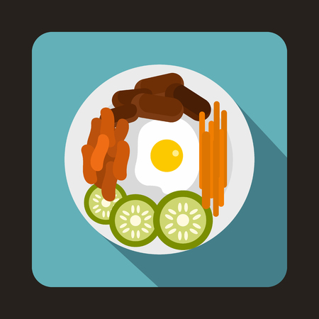 korea food: Korean food icon in flat style on a baby blue background