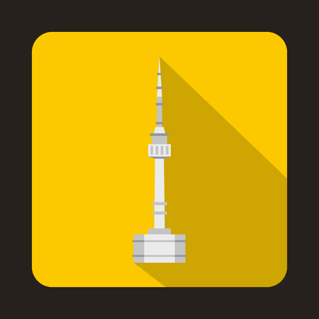 N Seoul Tower, South Korea icon in flat style on a yellow background