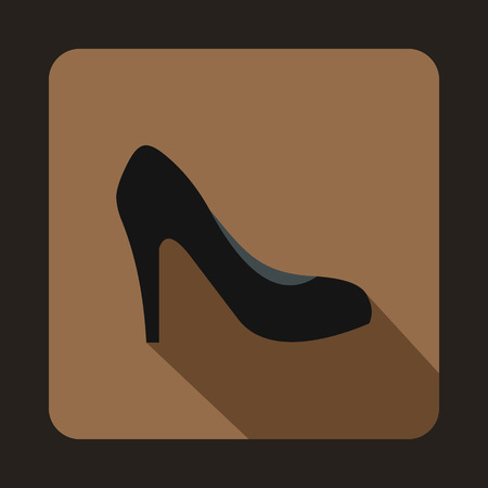 high heel shoe: Black high heel shoe icon in flat style on a coffee background Illustration
