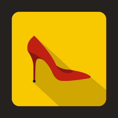 editorial: Red high heel shoe icon in flat style on a yellow background