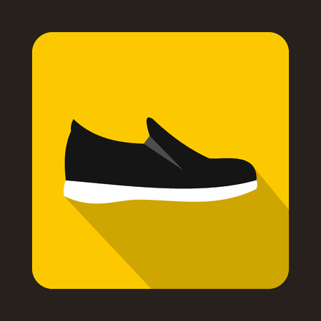 sole: Black shoe with white sole icon in flat style on a yellow background Illustration