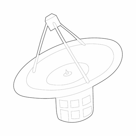 airwaves: Satellite communication station icon in outline style on a white background