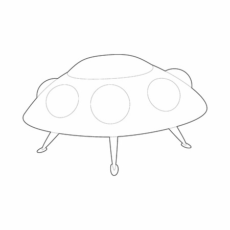ufo conspiracy theory: UFO saucer icon in outline style on a white background