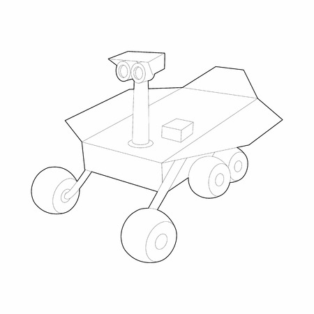 lunar rover: Mars exploration rover icon in outline style on a white background