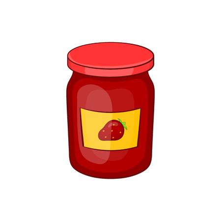 strawberry jam: Jar of strawberry jam icon in cartoon style isolated on white background Illustration