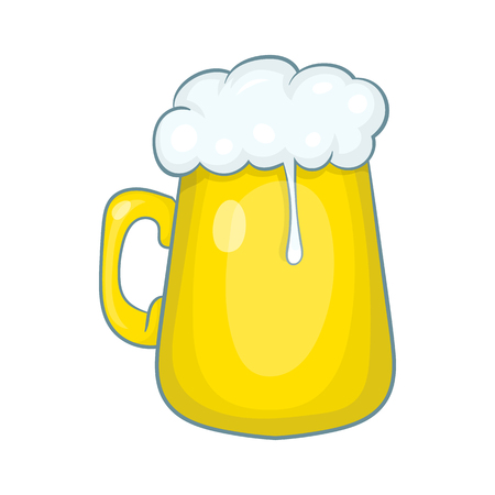 Glass mug of beer icon in cartoon style isolated on white background Illustration