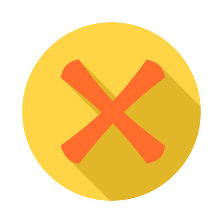 exclusion: Cross icon in flat style with long shadow. Click and choice symbol