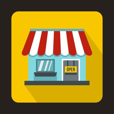 icono de la tienda en estilo plana con una larga sombra. Productos y símbolo de compra