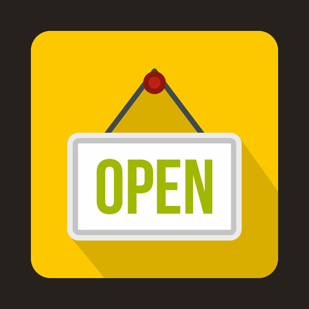 Sign open icon in flat style with long shadow. Signboard symbol