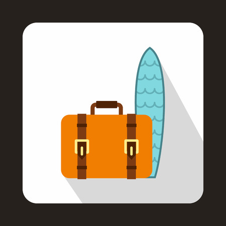 surfboard fin: Suitcase and surfboard icon in flat style with long shadow. Surfing symbol