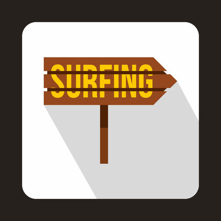 specifies: Road sign with word surfing icon in flat style with long shadow. Signpost symbol Illustration