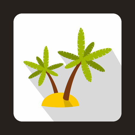 subtropical: Palm trees on island icon in flat style with long shadow. Flora symbol