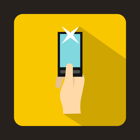 photographs: Hand photographs on smartphone icon in flat style with long shadow. Device symbol