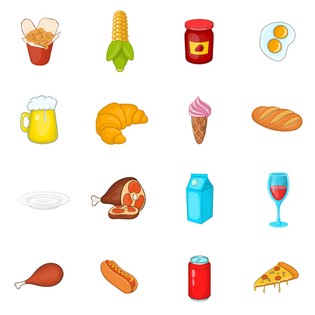 Food icons set in cartoon style. Fast food set collection vector illustration Illustration