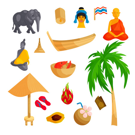 tourist attraction: Thailand icons set in cartoon style. Thailand elements set collection vector illustration