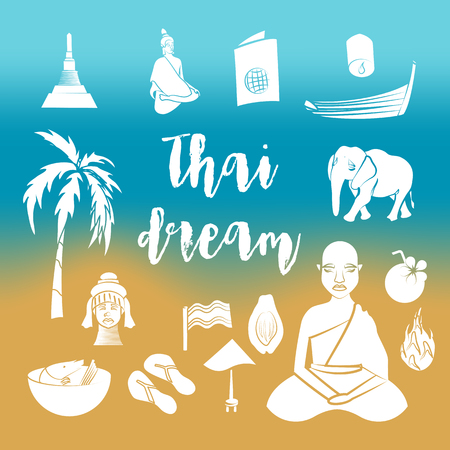 thai dance: Thailand icons set in simple style. Thailand elements set collection vector illustration Illustration