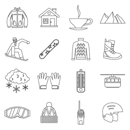 skating on thin ice: Snowboarding icons set in outline style. Winter sport elements set collection vector illustration