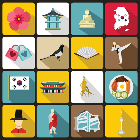 symbol icon: South Korea icons set in flat style. South Korea symbols set collection vector illustration