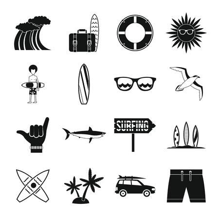 Surfen pictogrammen instellen in eenvoudige stijl. Zomer elementen instellen collectie vectorillustratie