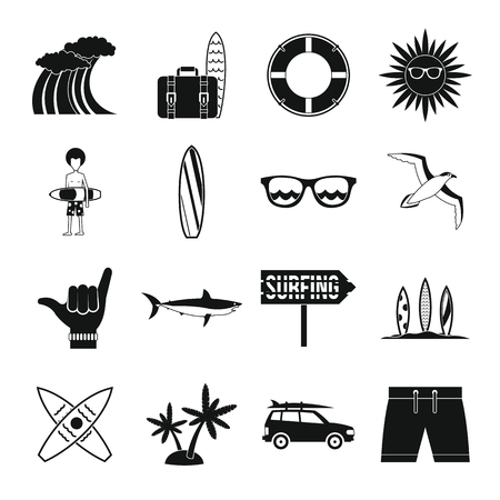 Surfing icons set in simple style. Summer elements set collection vector illustration Çizim