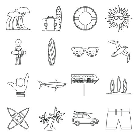 Surfing icons set in outline style. Summer elements set collection vector illustration