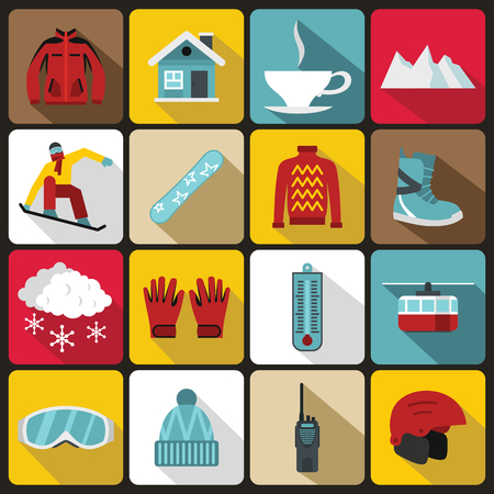 slope: Snowboarding icons set in flat style. Winter sport elements set collection vector illustration