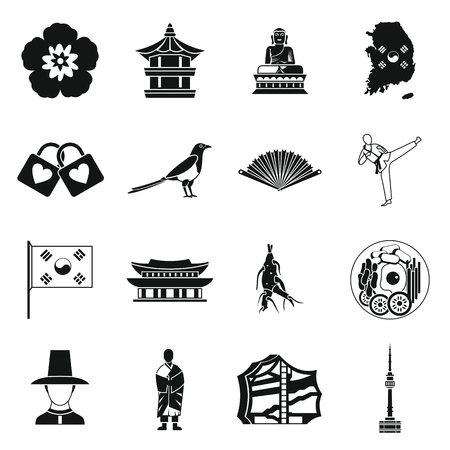 south asian: South Korea icons set in simple style. South Korea symbols set collection vector illustration Illustration