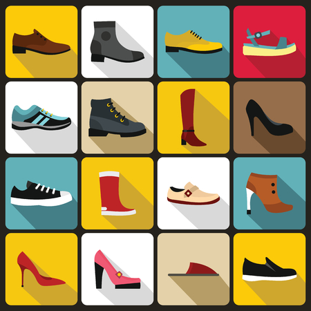 Shoe icons set in flat style. Men and women shoes set collection vector illustration Vettoriali