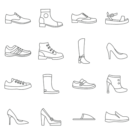 loafer: Shoe icons set in outline style. Men and women shoes set collection vector illustration Illustration