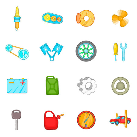 spare: Auto spare parts icons set in cartoon style. Car maintenance set collection vector illustration