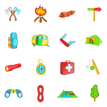 Camping icons set in cartoon style. Camping equipment set collection vector illustration