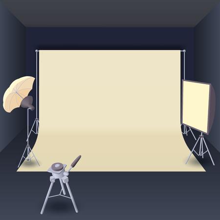 lighting equipment: Photo studio with lighting equipment in cartoon style for any design