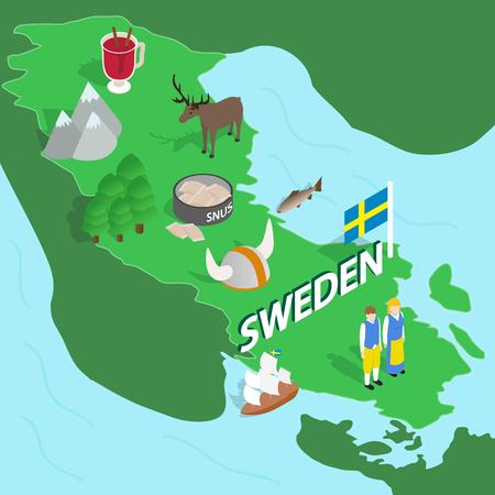 sweden map: Sweden map in isometric 3d style. Symbols of Sweden set collection vector illustration Illustration