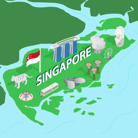green crab: Singapore map in isometric 3d style. Symbols of Singapore set collection vector illustration