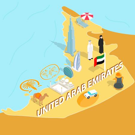 United Arab Emirates map in isometric 3d style. Symbols of UAE set collection vector illustration Illustration