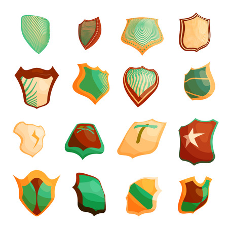 shield set: Shield icons set in cartoon style. Protection shield set collection vector illustration