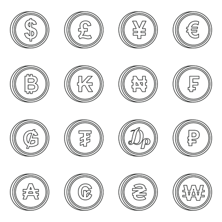 Currency From Different Countries Icons Set In Flat Style Money