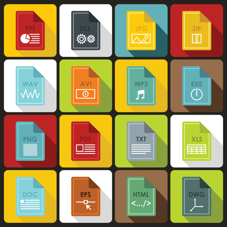 formats: File format icons set in flat style. File formats set collection vector illustration Illustration