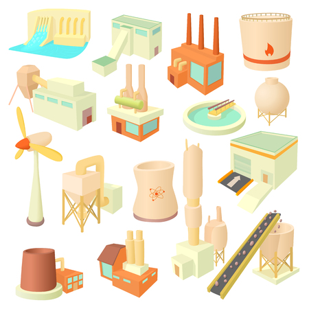 Industry icons set in cartoon style. Industrial building factories and plants set collection vector illustration Illustration
